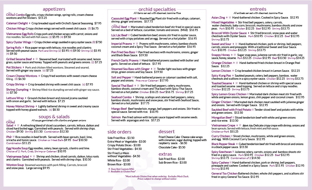 Orchid Restaurant Menu Appetizers and Entrees Asian Fusion Cuisine - Inside (1)